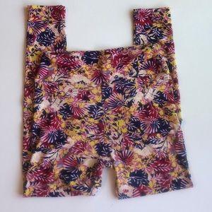 LulaRoe One Size Floral Leaf Pink & Navy Leggings